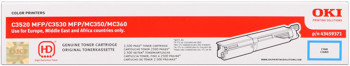 Oki 43459371 toner cyano, durata 2.500 pagine