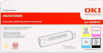 Oki 43698501 Rainbow Pack, confezione 4 toner originali: nero-cyano-magenta-giallo