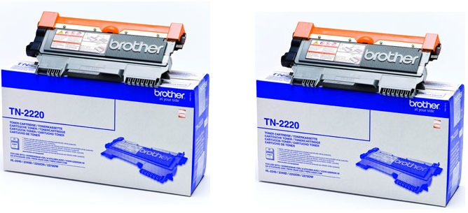 Brother tn-2220x2 toner originale, durata 2.600 pagine, confezione 2 pezzi