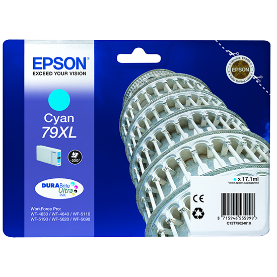 Epson C13T79024010 Cartuccia d'inchiostro cyano 17.1ml, ~2000 pagine, 79XL