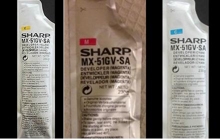 Sharp MX-51GVSA Developer Originale Colore, cyano, magenta, giallo. 3 pz
