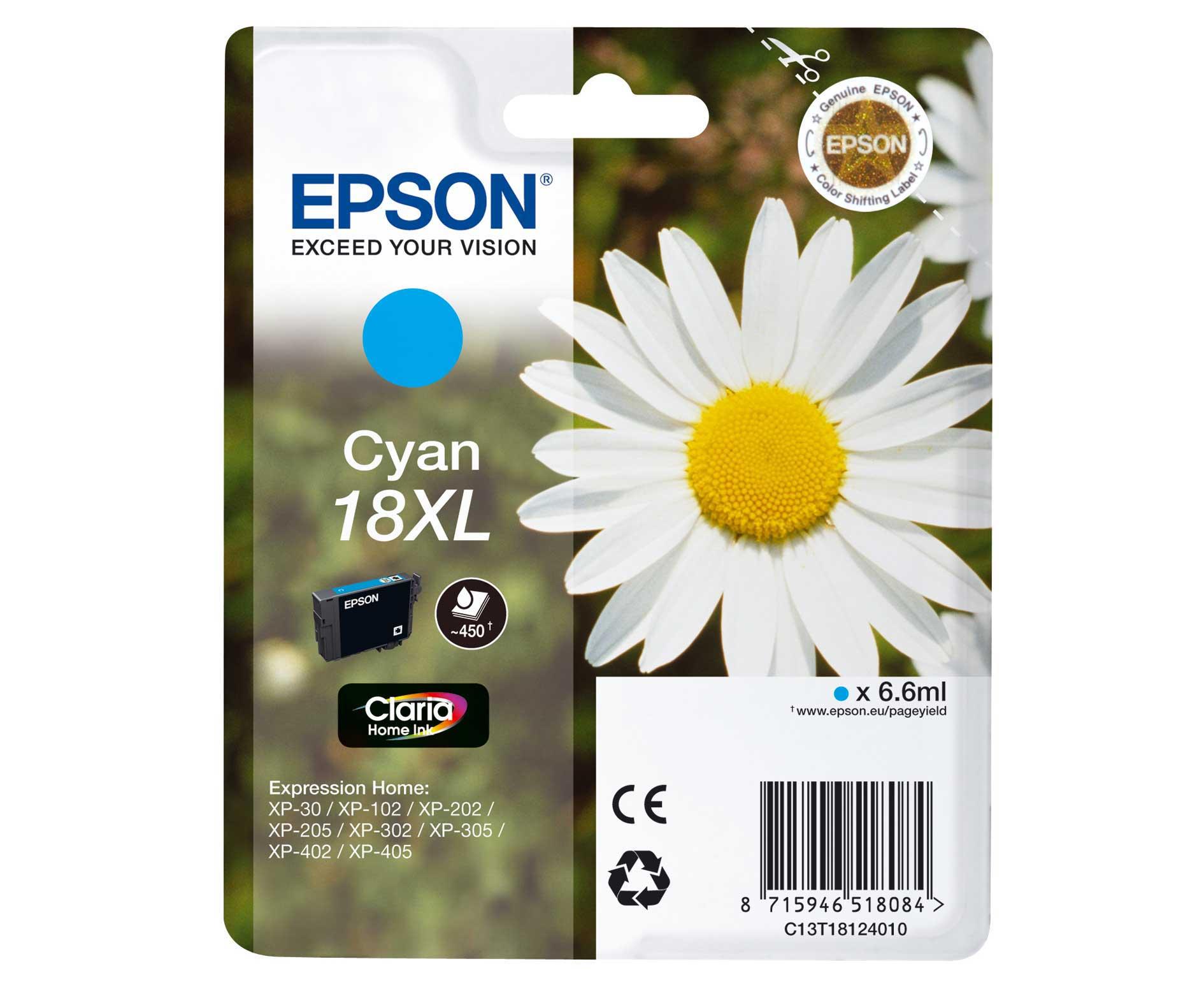 Epson C13T18124010 cartuccia cyano,  durata 450 pagine